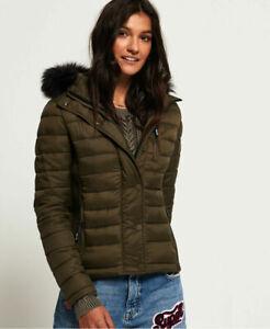 Superdry Womens Fuji Slim Double Zip Hooded Jacket uk 10 12 14 16 Olive