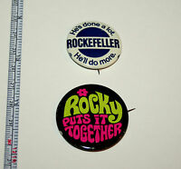 2 Rockefeller for Governor Flower Power Political Campaign Button Pin NOS New