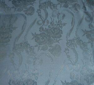 Vintage Retro Floral Garland Satin Damask Fabric ~ Powder Blue
