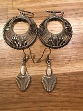 2 Pairs Of Silver Colour Ear Rings