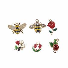 Pack of 6 Multi-colors Enamel Metal Flowers Honeybee Charms Pendants DIY