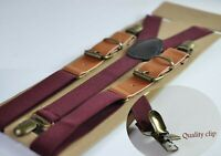 Burgundy Wine Dark Red Elastic Tan Brown Leather Suspenders Braces For all ages