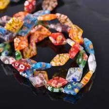 50pcs 10x14mm Rhombus Colorful Millefiori Glass Loose Spacer DIY Craft Beads