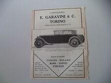 advertising Pubblicità 1928 CARROZZERIA GARAVINI (TORINO) SU ITALA MOD 61 A