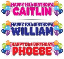 "2 x PERSONALISED BIRTHDAY BANNER 3ft- 36 ""x 11"" 1st 18th 21st 30th 40th BALLOONS"