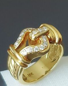 DAVID YURMAN Solid 18k Yellow Gold & Diamond Open Buckle Cable Ring SZ 6.5 MINT
