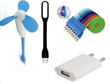 Combo of USB FAN &LED LIGHT with Charging Adaptor and Smile LED Charging Cable