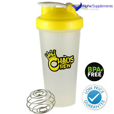 Chaos Crew Protein Shaker Water Bottle Yellow 600ml Gym Fitness Shaker Cup | UK