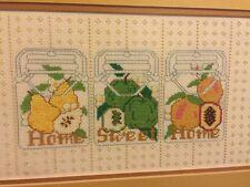 Vintage Kitchen Cross Stitch Canning Mason Jar Home Sweet Home Fruit Apple Pear