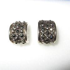 Vintage c1970 Sterling Silver and Marcasite Half Hoop Earrings 7.8 Grams