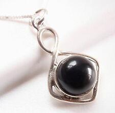 Black Onyx Circle in Square 925 Sterling Silver Necklace Corona Sun Jewelry