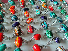 Wholesale Lots Mixed 10Pcs Natural Malachite Gemstone Tibet Silver P Rings FREE