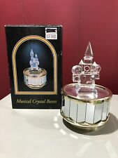 "New ListingGlass And Crystal Castle Revolving Mirrored Music Box Plays ""Unchained Melody"""