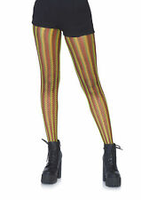 Yellow, Green & Red Rasta Striped Fishnet Tights, Jamaican, Festival, Rave, Club