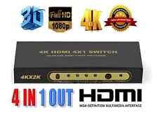 4 Port 4x1 HDMI Switch Box 4K 3D 1080P Switcher Remote Control Selector