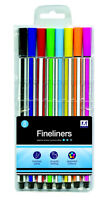 8 Pack Quality Assorted Colour Smooth Writing Fineliner Pens