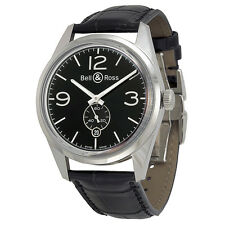 Bell and Ross Vintage Officer Black Dial Black Leather Mens Watch