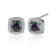 Pair of 316L Surgical Steel Colors Round CZ Stud Men's Women's Stud Earrings