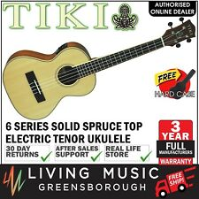 NEW Tiki Solid Spruce Top Electric Tenor Ukulele w Hard Case (Natural Satin)