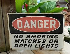 Vtg Porcelain Heavy Metal Sign No Smoking Matches Open Light Gas Service Station