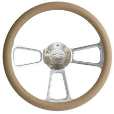 Chevy Steering Wheel - Billet & Tan Wrap, Chevy Horn, Adapter Ships Free!