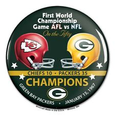 GREEN BAY PACKERS KANSAS CITY CHIEFS SUPER BOWL I CHAMPS ON THE FIFTY BUTTON