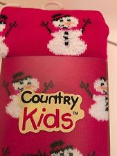 Girls Snowman Tights Red Snowmen Christmas Size 6-8 Years