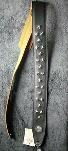 Gitarrengurt Gaucho Biker Series guitar strap black mit Sternen chrom