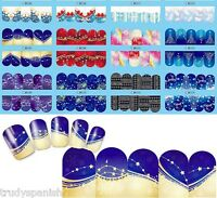 Full Wrap Water Transfers Nail Art Stickers Decals Christmas Snowflakes Stars