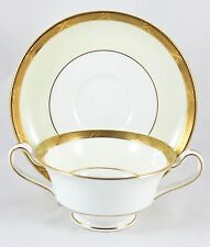 9 SETS MINTON CHINA H2801 CREAM SOUP BOWLS & SAUCERS RAISED GOLD ENCRUSTED CREAM