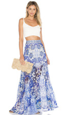 Camilla Guardian of Secrets Blue White Floral Print Pleated Long Maxi Skirt S
