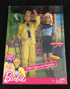 NEW in BOX Barbie i can be... Police Officer & Firefighter Ken & Barbie (W1378)