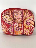 Vera Bradley Small Floral Cosmetics Makeup Bag Pink Yellow Orange Plastic Liner