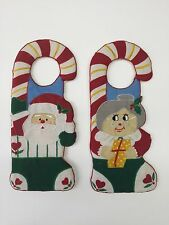 Set of 2 Christmas Holiday Knob Hangers Santa and Mrs Claus Cloth and Foam 12in