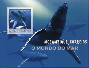 Mozambique Whales Stamps 2002 MNH Marine Animals Life Fauna 1v S/S