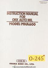 Osaka Mha600 Okk Automil Instructions Manual