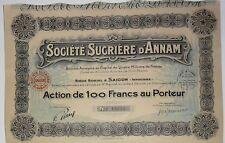 Postal-sociedad Azúcar de ANNAM acción la 100 Frs Saigon Indochina 1929 (15234)