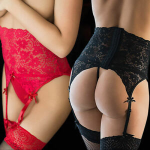 Women's High Rise Waist Lace Sexy Suspender Belt Garter and String Knickers