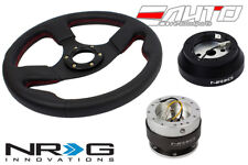 """NRG 320mm 1.5"""" DP Race Leather Steering Wheel Red St 140H Hub 2.0 Silver Release"""