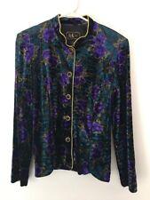 R&K Evening Purple Turquoise Gold Jacket Blazer Size 8
