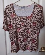 Western Connection S/S Animal Print /Pink Roses Blouse - Large