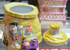 "HANNA BARBERA The Flintstones House Cookie Jar Fred Wilma Pebbles Dino 10+1/2"""
