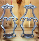 Vintage Rustic Primitive Farmhouse Ornate Pewter Wall Sconces PIC Indiana