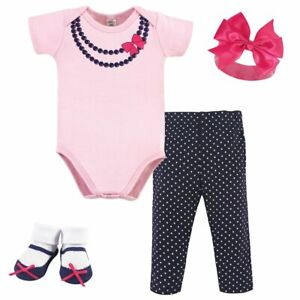 Little Treasure Boxed Gift Set 4-Piece, Navy/Pink Necklace, 0-6 Months