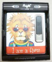 Zigaretten Etui mit Feuerzeug und USB Anschluß I am a Lion hell 805000