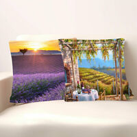 BG_ IC- Lavender Sunflower Print Home Sofa Throw Pillow Case Cover Car Office De