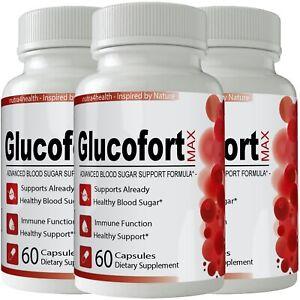 3 Bottles Glucofort Advanced Blood Sugar Support Formula - MAX Gluco Fort New