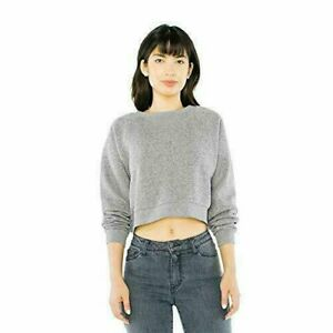 American Apparel Peppered Fleece Cropped Pullover in Grey Women's Medium NWT