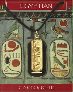 Egyptian Cleopatra Cartouche Gold Plated Pendant On A Waxed Cord