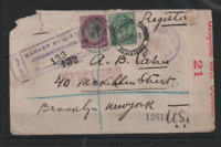 South Africa KGV 1917 Censored Registered Cover to New York WS13204
